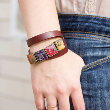 Wrap bracelet - faux leather bracelet and geeky buttons - circuit board jewelry - square, resin
