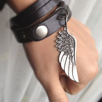 Sliced Black Leather Double Wrap Cuff Bracelet With Angel Wing charm Wish bracelet