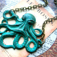 octopus necklace teal blue