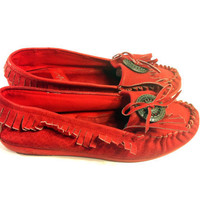 Red Leather Mocassins with Fringe 7 - Mocs with Silver Medalian