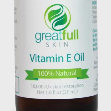 Vitamin E Oil by GreatFull Skin Is a 100% All Natural and Premium All Purpose Liquid Serum Ointment - Best Emollient to Hydrate and Nourish Face, Skin, Hair, and Nails - Heal Scar Tissue - Beneficial for Baby Skin, Stretch Marks, Sunburn, Anti Aging, Wrink