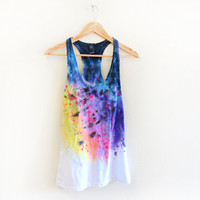 Splash Dyed Hand PAINTED Scoop Neck Racerback Tank Top in White Spectrum Rainbow - XS S M L