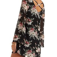 Floral Shift Dress with Kimono Sleeves - Black/Purple