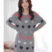 Gray Long Sleeve Slim Fit Round Neck Love Pattern Long Sweater Indressme