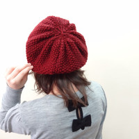 Burgundy Hat Beanie,Knit Beanie, Hand Knitted Beanie, Gift for Her