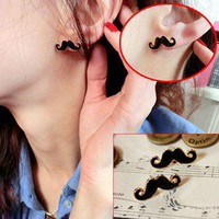 Exquisite Retro Ingenuity Avanti Beard Design Moustache Earring Ear Rings Stud A