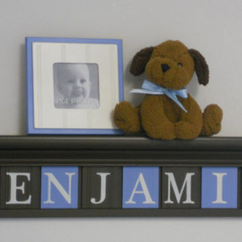 """Baby Nursery Wall Shelves - Blue and Brown Decor - 30"""" Shelf with 8 Wooden Tiles - BENJAMIN"""