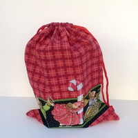 Christmas Mice Extra Large Drawstring Fabric Gift Bag Upcycled, Reusable 12 X 15 Inches