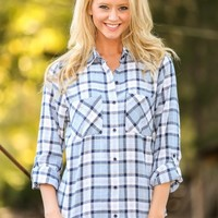 New England Rain Plaid Blouse-Sky Blue