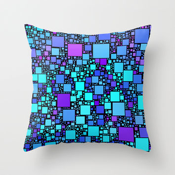Post It Blue Throw Pillow by Alice Gosling