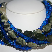 Green Jade and Blue Glass Multi Strand Statement Necklace