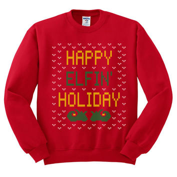 Red Crewneck Happy Elfin' Holiday Ugly Christmas Sweatshirt Sweater Jumper Pullover