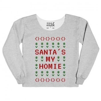 Santa's My Home Ugly Christmas Sweater Style T-Shirt (RED GRN 31219)