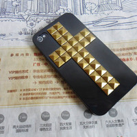 Black iPhone 4 4S hard case cover with cross bronze pyramid stud for iPhone 4 Case, iPhone 4S Case, iPhone 4 GS case,case cover   -161