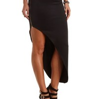 Asymmetrical Maxi Skirt by Charlotte Russe - Black