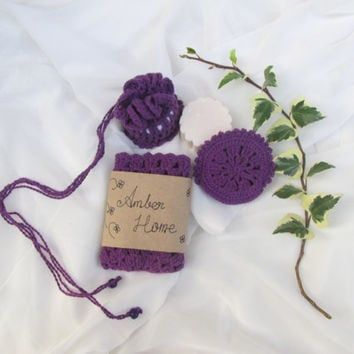 BATH SET // Purple bath set. Handmade Soap, Guest Soap, washcloth, cinnamon soap, organic cotton  washcloth, face scrub, Crochet  Soap Sack.