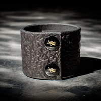 Leather Cuff - Black Cowhide - Ebony & Brass Fasteners - Thorn Motif - 2 Inches Wide