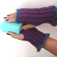 Plum and Teal Fingerless Gloves in Crochet, Gauntlets, Mitts, Cuffs