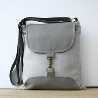 Gray and Dark Gray Bag  Adjustable strap // For Dady Father / Unisex / messenger for Men For Women / Zipper clousure