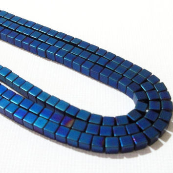 Blue Square Cube 3D Non Magnetic Hematite Beads, Full Strand, 3mm  (140) Beads Approx