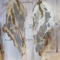 Large metal angel wings French farmhouse hand painted distressed rusty embellishment for dress forms or home decor anita spero