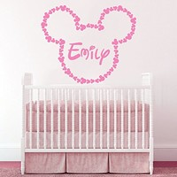 Personalized Custom Girl Boy Name Wall Decal Vinyl Sticker Decals Art Home Decor Murals Lettering Monogram Disney Head Mice Ears Mickey Mouse Childrens Nursery Baby Name Wall Decals AN303