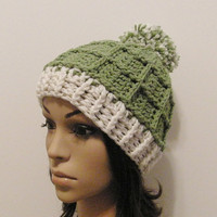 Epic Ribbed Squared Beanie With PomPom- Lettuce and Eggshell - Made to order - Mens and womens hat