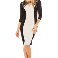 Little Mistress Lace Front Cross Over Dress