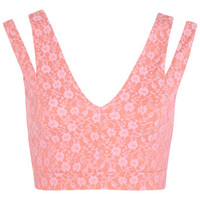 Pink Bonded Lace Bra Top - Tops - Apparel