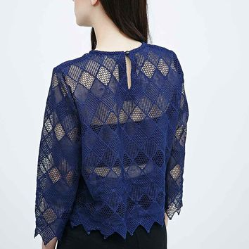 Little White Lies Cage Sheer Top in Navy - Urban Outfitters
