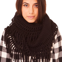 Netted Knit Infinity Scarf in Black