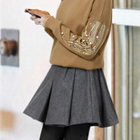 Brown Sequins With Bead Long Sleeve Sweatshirt With Skirt Two-piece Suit