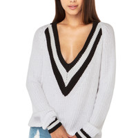 Six Crisp Days Deep V Nautical Sweater in White