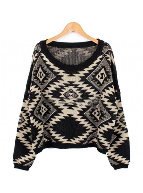 Geometric pattern round neck Bat-sleeved sweater$38.00