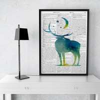 Watercolor Deer poster Stag print Dictionary art Modern decor