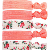 Embellished Ponytail Holders, Elastic Hair Accessories, Glitter Hair Ties, Set of 5 Hair Ties in Pink Roses (HA-3935)