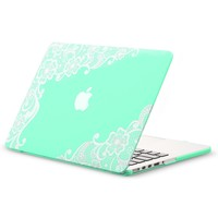 "Kuzy - Retina 13-inch Lace TEAL HOT BLUE Rubberized Hard Case for MacBook Pro 13.3"" with Retina Display A1502 / A1425 (NEWEST VERSION) Shell Cover - Lace TEAL"
