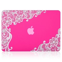 "Kuzy - Retina 13-inch Lace Neon PINK Rubberized Hard Case for MacBook Pro 13.3"" with Retina Display A1502 / A1425 (NEWEST VERSION) Shell Cover - Lace Neon PINK"