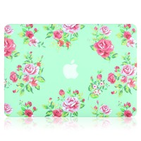 """Kuzy - AIR 13-inch Vintage Flowers Mint GREEN Rubberized Hard Case for MacBook Air 13.3"""" (A1466 & A1369) (NEWEST VERSION) Shell Cover - Vintage Flower Mint GREEN"""