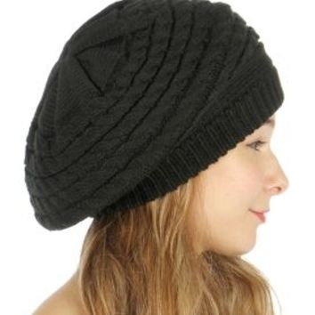 HauteChicWebstore Cable Knit Long Beanie in Black - www.shophcw.com