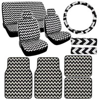 BDK 15 Piece White Chevron New Design Low Back Seat Covers and Carpet Floor Mats Complete Set