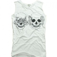 Skeleton Print Vest in White