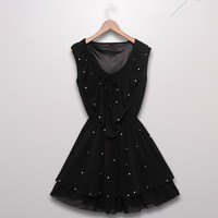 Women Chiffon Round Ruffle Neckline Tank Sleeve Black Beaded Pleating One Size Dress@MF3323b - $21.99 : DressLoves.com.