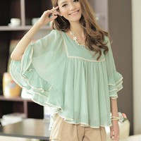 Women Chiffon Casual Ruffle Sleeve Round Neck One Size Green Fitting Top@MF9857gr - $28.99 : DressLoves.com.