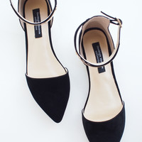 Premium Black Pointy Metal Plate Ankle Strap Suede Leather Flats - EU