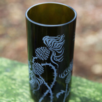 Thistle bushes drinking glass upcycled from wine bottle
