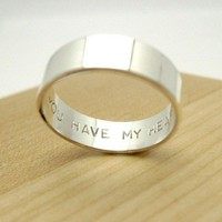 Secret Promise Ring - You Have My Heart - choose your size