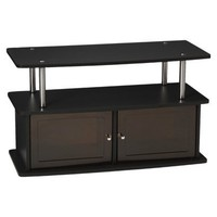 TV Entertainment Stand with 2 Cabinets - Black
