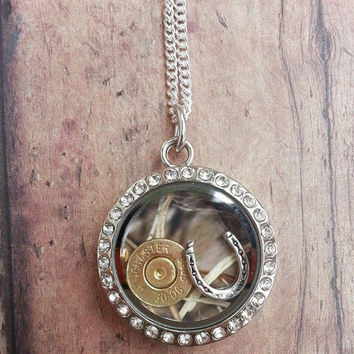 Horseshoe Bullet Reversible Camo Floating Charm Necklace for Farm Hunting Country Gun Loving Cow Girl