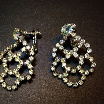 Hobe Rhinestone Chandelier Earrings Vintage Silver Tone Screw Back Clip Ons